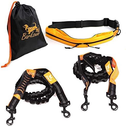 Joggingleine Hunde – Handfreie Hundeleine für Rennen, Laufen und Wandern – Bauchgurt Hundeleine – Elastische Bungee-Leine mit Griff für Hunde bis zu einem Gewicht von 60kg