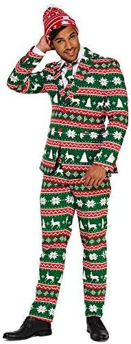 OppoSuits Weihnachtsanzüge für Herren – Besteht aus Sakko, Hose und Krawatte + Weihnachtsmütze Gratis