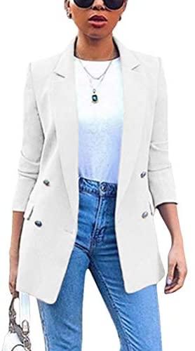 Minetom Damen Cardigan Elegant Blazer Langärmliger Anzugjacke Einfarbig Blazer Business Slim Fit Bolero Jacke Anzug Trenchcoat