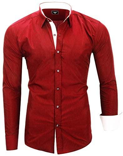 Kayhan Twoface Herren-Hemd Slim-Fit Langarm-Hemden Freizeit Business Hochzeit Streifen S-6XL