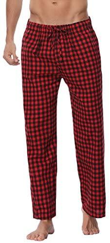 Aibrou Herren Schlafanzughose Kariert Lange Karo Freizeithose Plaid Loungewear mit Kordelzug und 2 Seitentasche Nachtwäsche für Männer